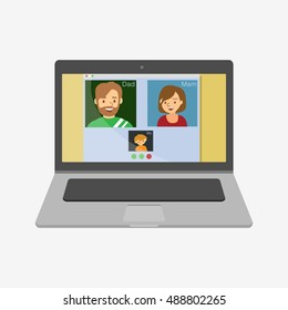 Family talking on skype. Laptop vector illustration icon. Flat design style. Skype video chat. Family skype. Skype vector. Laptop icon. macbook, mac, imac, apple. Macbook vector.  Mac icon.