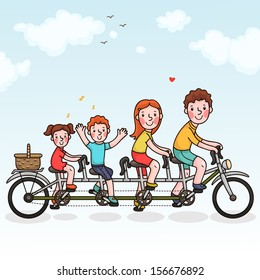 Family tandem bicycle. Happy family. Summer time.