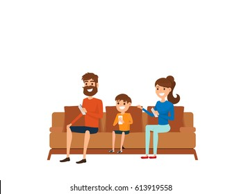 Family technology concept. Family sitting on sofa in living room and using smart phone. Cartoon Vector Illustration.