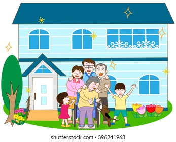 A family of the third generation living together. A barrier-free house.