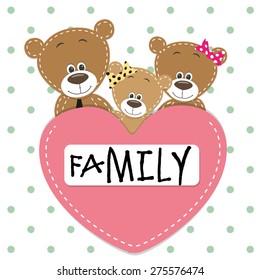 Family of Three bears and a heart