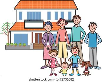 Family three generations, illustration parent and child