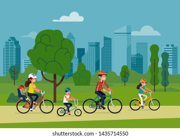 Family with three kids riding bicycles in city park. Happy parents cycling with children in nature. Flat vector illustration on family outdoors activities