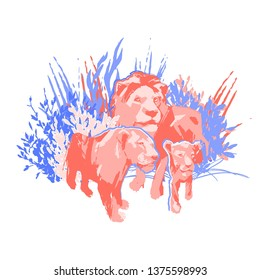 Family of three lions among the grass and bushes. Abstract graphic illustration drawn in the technique of rough brush