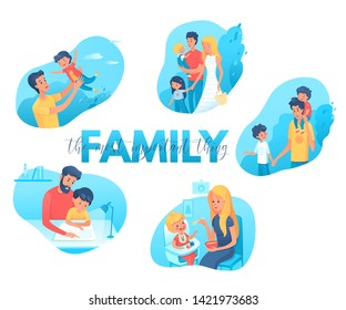 Family time flat illustrations set. Parents and kids leisure activities, pastime. Fatherhood, motherhood scrapbook cliparts. Mother, father with daughter walking in park. Dad helping son with homework