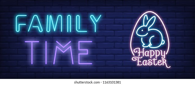 Family time, happy Easter neon sign. Easter bunny in egg shaped frame on brick wall background. Vector illustration in neon style for festive posters and signboards