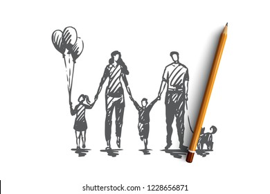 Family time, mother, kids, happy, father concept. Hand drawn happy family walking outside concept sketch. Isolated vector illustration.