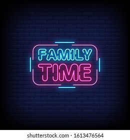 Family Time Neon Signs Style Text Vector