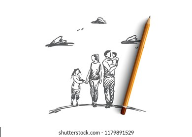 Family time, parents, children, leisure concept. Hand drawn mother, father and children walking together concept sketch. Isolated vector illustration.