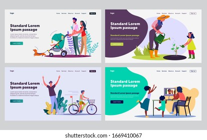 Family time together collection. Parents and kids walking, gardening, riding bike, chatting online. Flat vector illustrations. Leisure, activity concept for banner, website design or landing web page