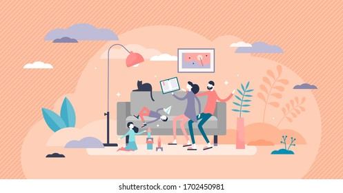 Family time vector illustration. Parents together with children in flat tiny people concept. Quality harmony relationship with positive recreation and cheerful entertainment in free weekend at home.