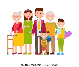 Family together big poster, banner with people of dierent ages, kid with cat, teenager with tablet, pregnant woman isolated on vector illustration