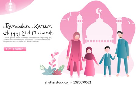 family togetherness and pleasure celebrating Eid Mubarak. concepts of mosque icons and ornaments, lantern, ramadan and plants. suitable web, landing page, UI. flat cartoon vector ramadan illustration