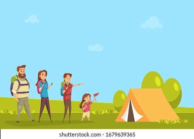 Family tourism.People camping.Vacation with children.Travel concept .Happy Couple with kid boy and girl cartoon illustration