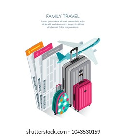 Family travel by aircraft and vacation concept. Vector 3d isometric style isolated illustration of colorful luggage, airplane tickets and plane. Tourism icons.