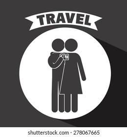 Family travel design over black background, vector illustration