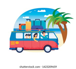 Family Travel Father Drive Minivan with Mother Children at Sea Shore Vector Illustration. Happy Cartoon People Kids in Minibus. Road Trip Summer Holidays Vacation. Ocean Beach Palm Tree