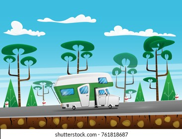 Family traveler truck on summer on forest area road. Camper on road trip. Cartoon vector illustration