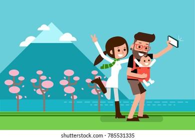 Family traveling mountain flat design cartoon, vector.