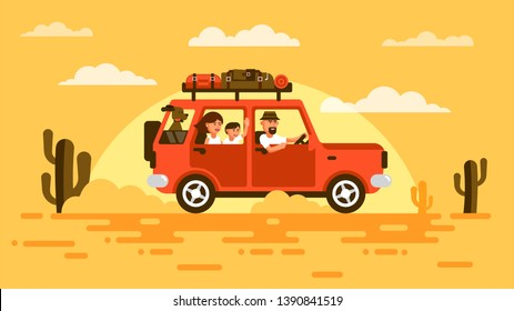 Family travels by car with a dog. SUV with passengers and luggage rides through the desert of the southern states.