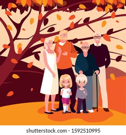Family and tree design, Autumn season nature ornament garden decoration and thanksgiving day theme Vector illustration