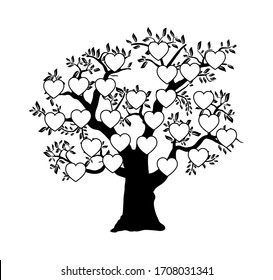 The family tree genealogical silhouette is a template for home household history creativity and domestic albums of photos and homework creativity.