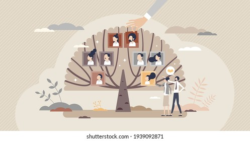 Family tree with generation connection and origin history tiny person concept. Relatives and siblings genealogy research with dynasty roots chart vector illustration. Retro community with grandparents