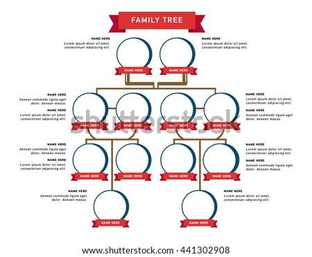 family tree generation illustratuion people faces stock vector