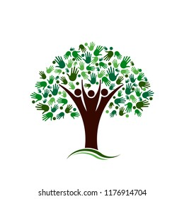 Family Tree with Hands Network Vector logo