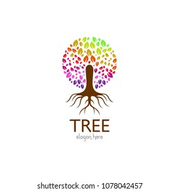 Family tree isolated logo icon design template. Green eco nature vector illustration