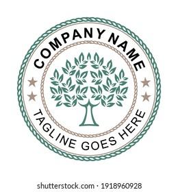 Family Tree of Life Stamp Seal Emblem Oak Banyan Maple logo design vector. Treel ogo  Emblem logo design inspiration.