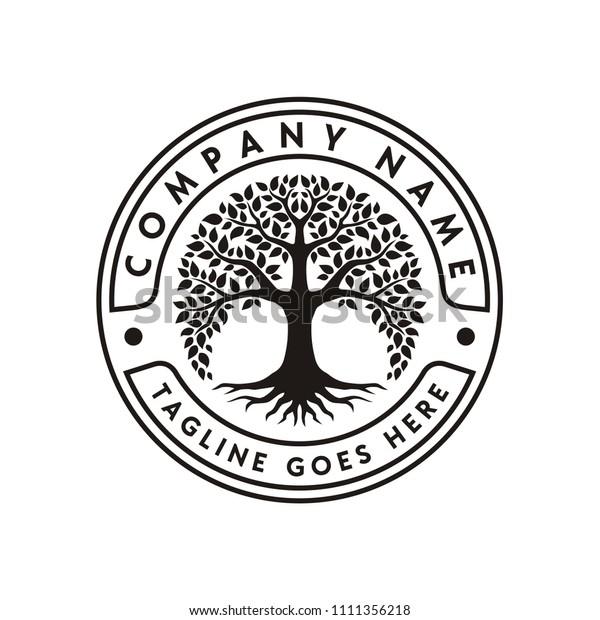 Family Tree of Life Stamp Seal Emblem Oak Banyan Maple logo design vector