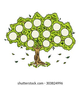 Family tree on white background. Frames empty for your input. Vector illustration.