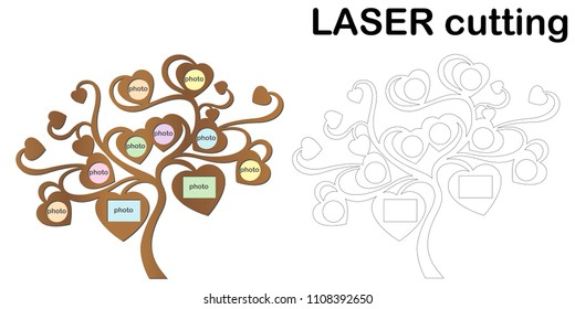 Family tree with photo frames for laser cutting. Collage of photo frames. Template laser cutting machine for wood and metal.
