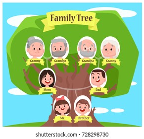 Family tree with portraits and place for text. Vector illustration