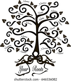 Family tree with roots