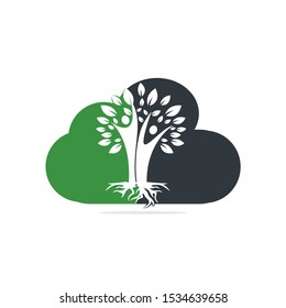 Family Tree And Roots Cloud Shape Logo Design. Family Tree Symbol Icon Logo Design