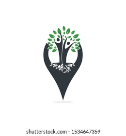 Family Tree Roots And Gps Icon Logo Design. Family Tree And Gps Symbol Icon Logo Design.