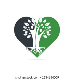 Family Tree And Roots Heart Shape Logo Design. Family Tree Symbol Icon Logo Design