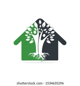 Family Tree And Roots Home Shape Logo Design. Family Tree House Symbol Icon Logo Design