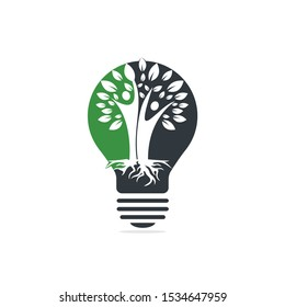Family Tree Roots And Light bulb Icon Logo Design. Family Tree And Light bulb Symbol Icon Logo Design.