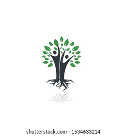 Family Tree And Roots Logo Design. Family Tree Symbol Icon Logo Design