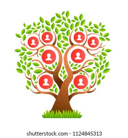 Family tree template concept with people icons and colorful green leaves for life generations history. EPS10 vector.