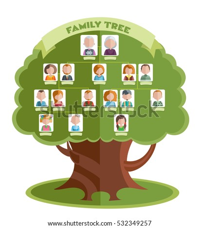family tree template portraits relatives place stock vector royalty