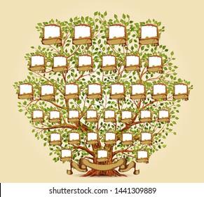 Family Tree template vector illustration