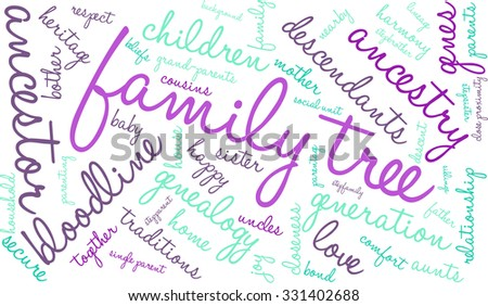 family tree word cloud on white stock vector royalty free