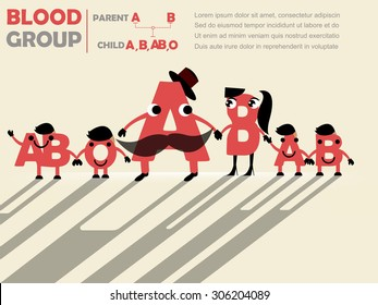 family tree's cute design of parent's blood group to child's blood group : father is A and mother is B and child will be A or B or O of AB , blood group concept design