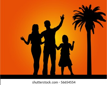 family under the palm