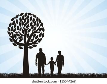 family under tree over grass, blue background. vector illustration