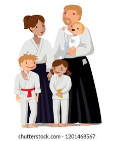 Family in uniform. Colorful vector flat illustration. Suitable for oriental martial arts such as aikido, judo, karate, jiu-jitsu, budo